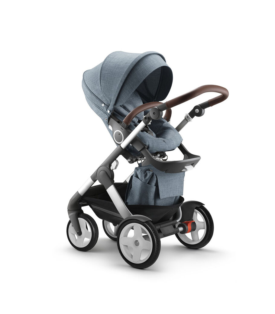 Stokke® Trailz™ Classic  with Stokke® Stroller Seat and Shopping Bag, Nordic Blue.