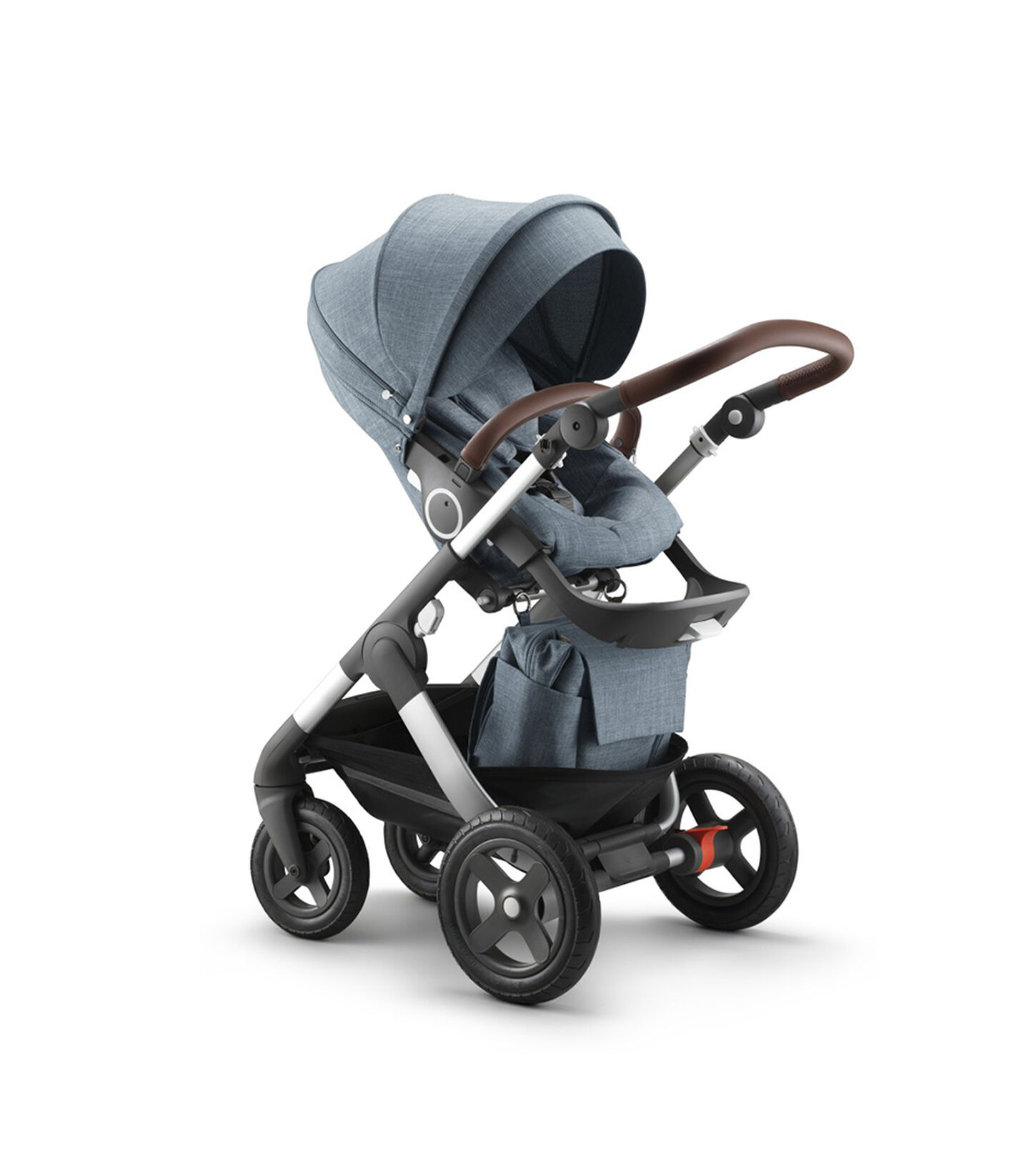 Stokke® Trailz™ Terrain  with Stokke® Stroller Seat and Shopping Bag, Nordic Blue.