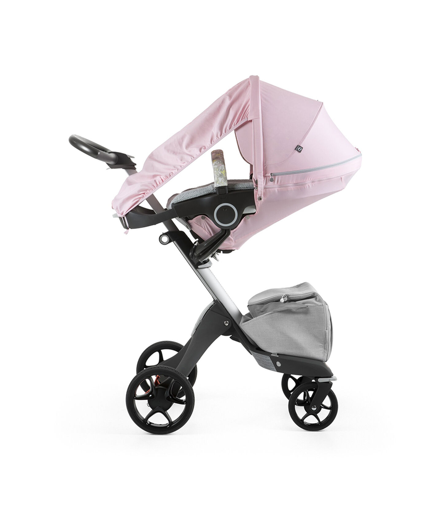 Stokke® Xplory® With Stokke® Stroller Seat and Flora Pink Summer Kit.