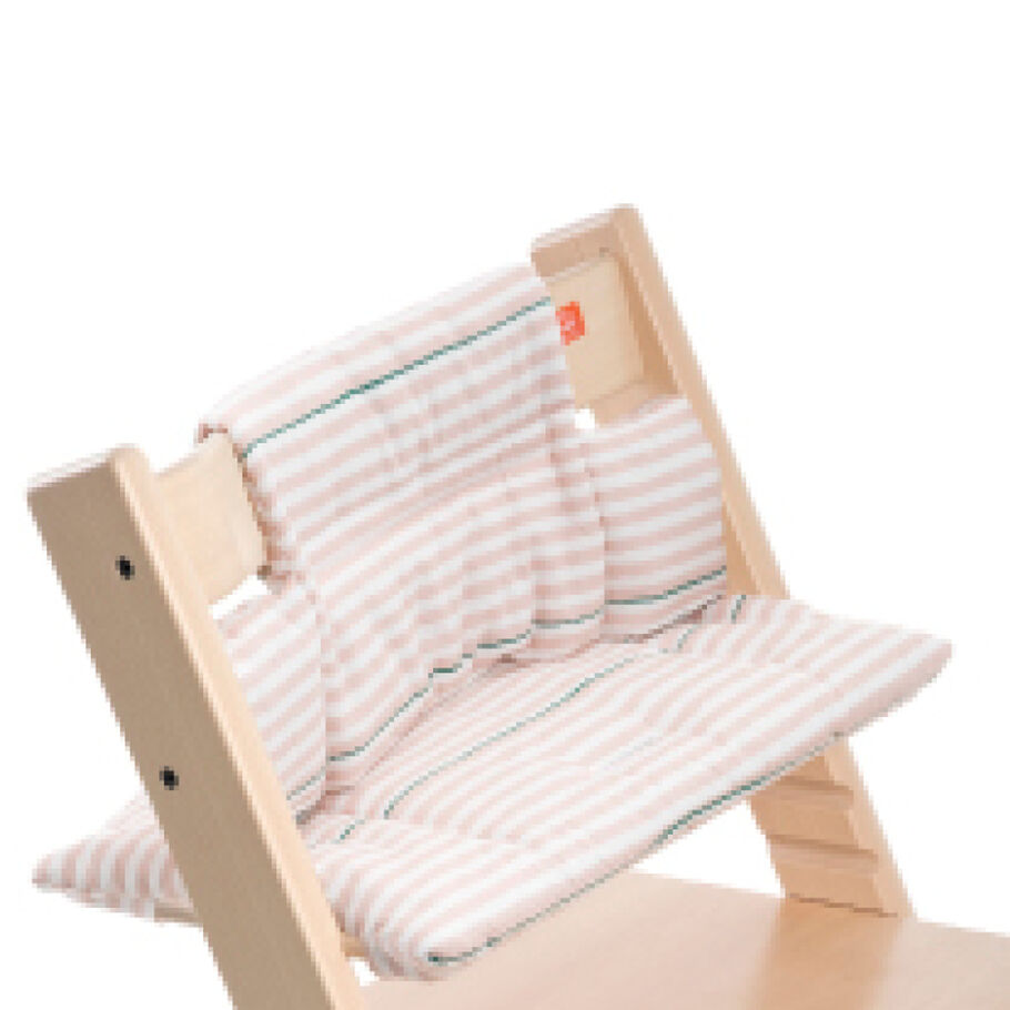 Tripp Trapp® Natural with Pink Stripes Classic Baby Cushion. Detail.