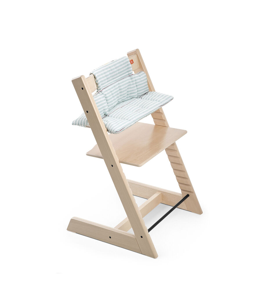 Tripp Trapp® Natural with Cushion Aqua Stripes.