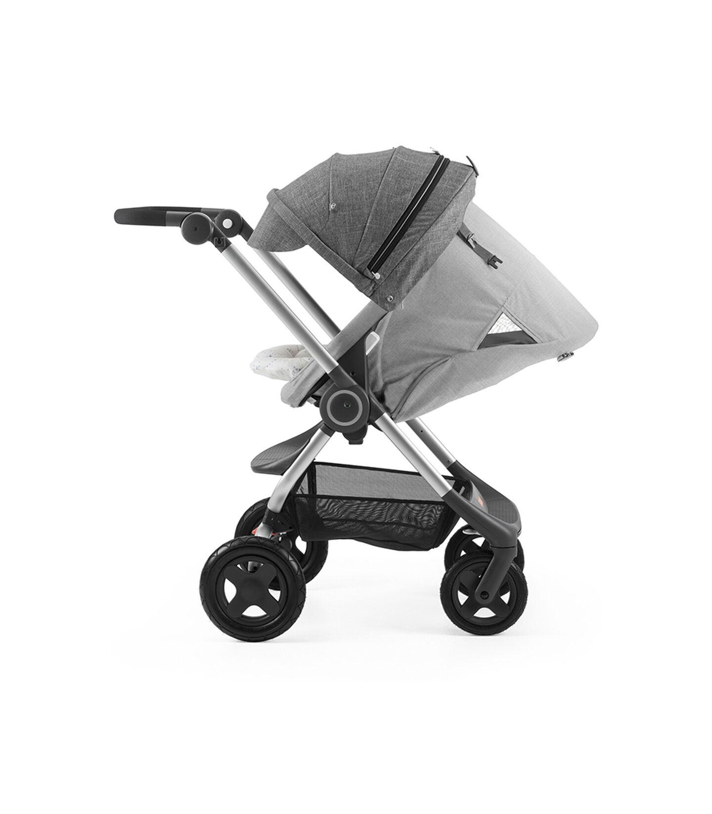 Stokke® Scoot™ with Grey Melange seat and Black Melange Canopy. Parent Facing. Sleep position.