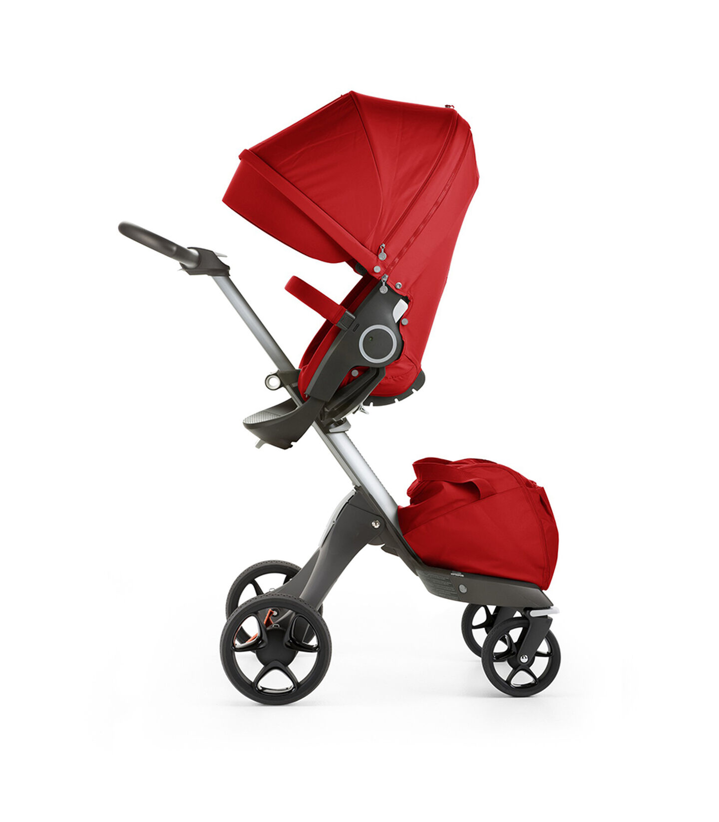 Stokke® Xplory® with Stokke® Stroller Seat, Red. New wheels 2016.