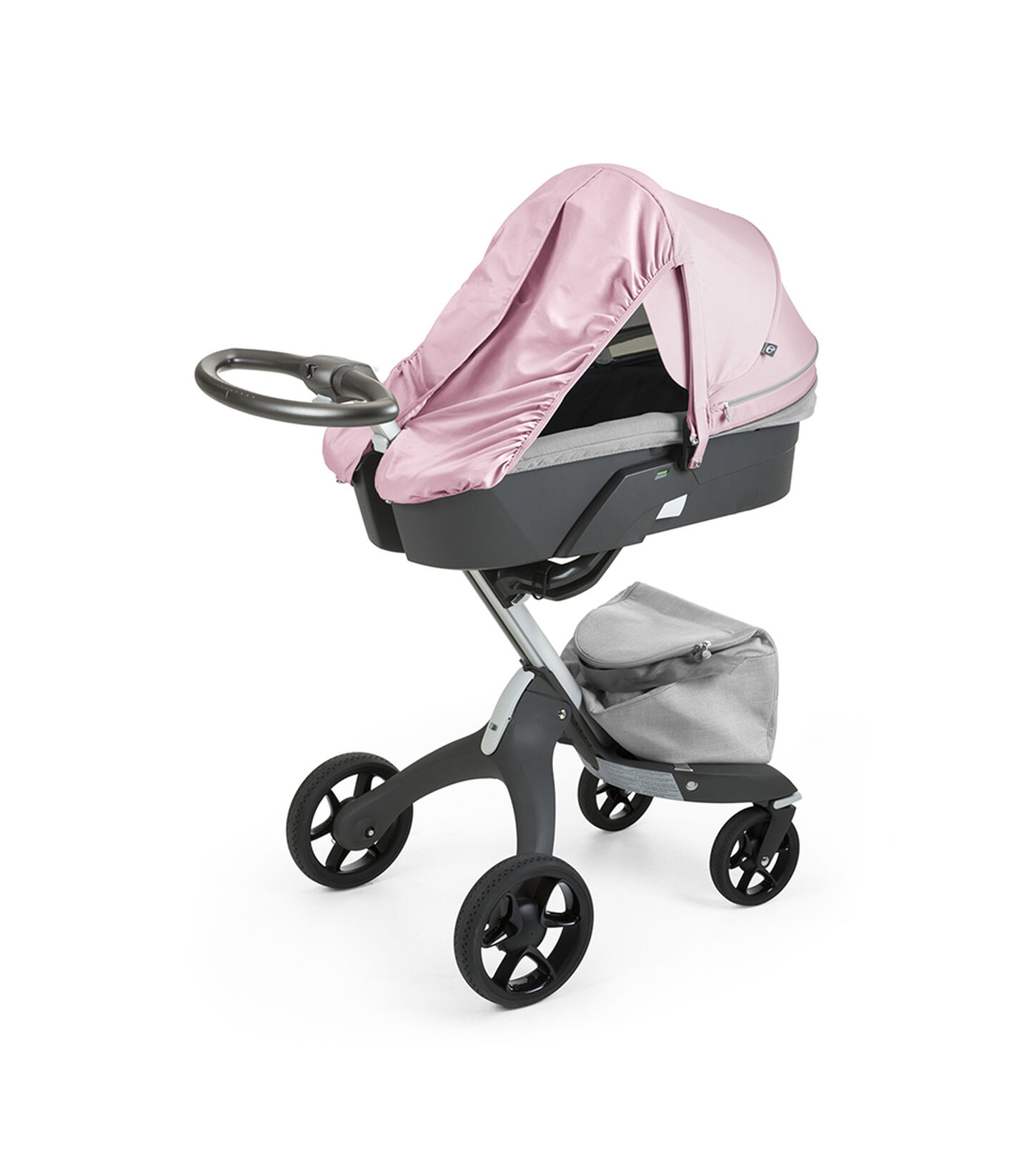 Stokke® Xplory® With Carry Cot and Flora Pink Summer Kit.