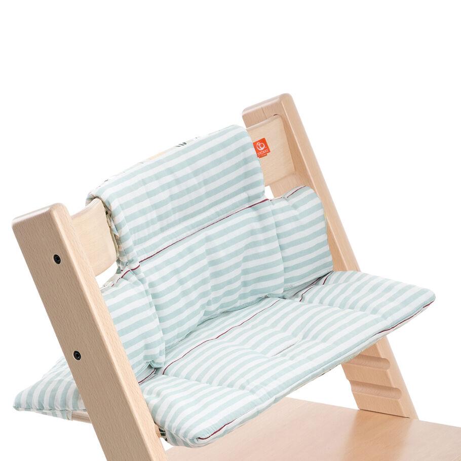 Tripp Trapp® Natural with Aqua Stripes Classic Baby Cushion. Detail.