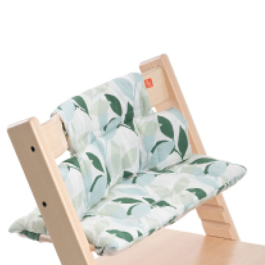 Tripp Trapp® Natural with Green Forest Classic Baby Cushion. Detail.
