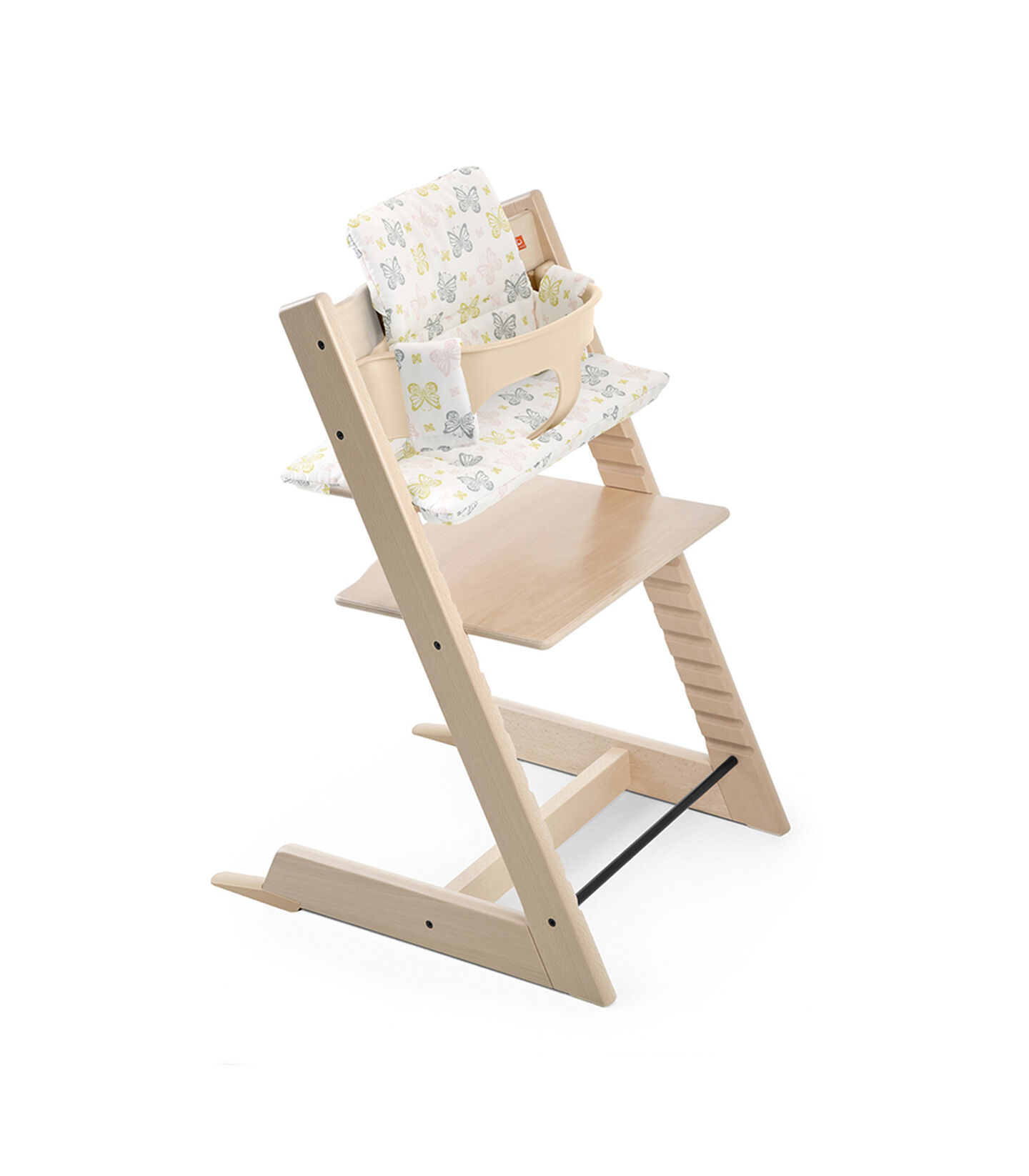 Tripp Trapp® Natural with Baby Set and Cushion Sweet Butterfly.