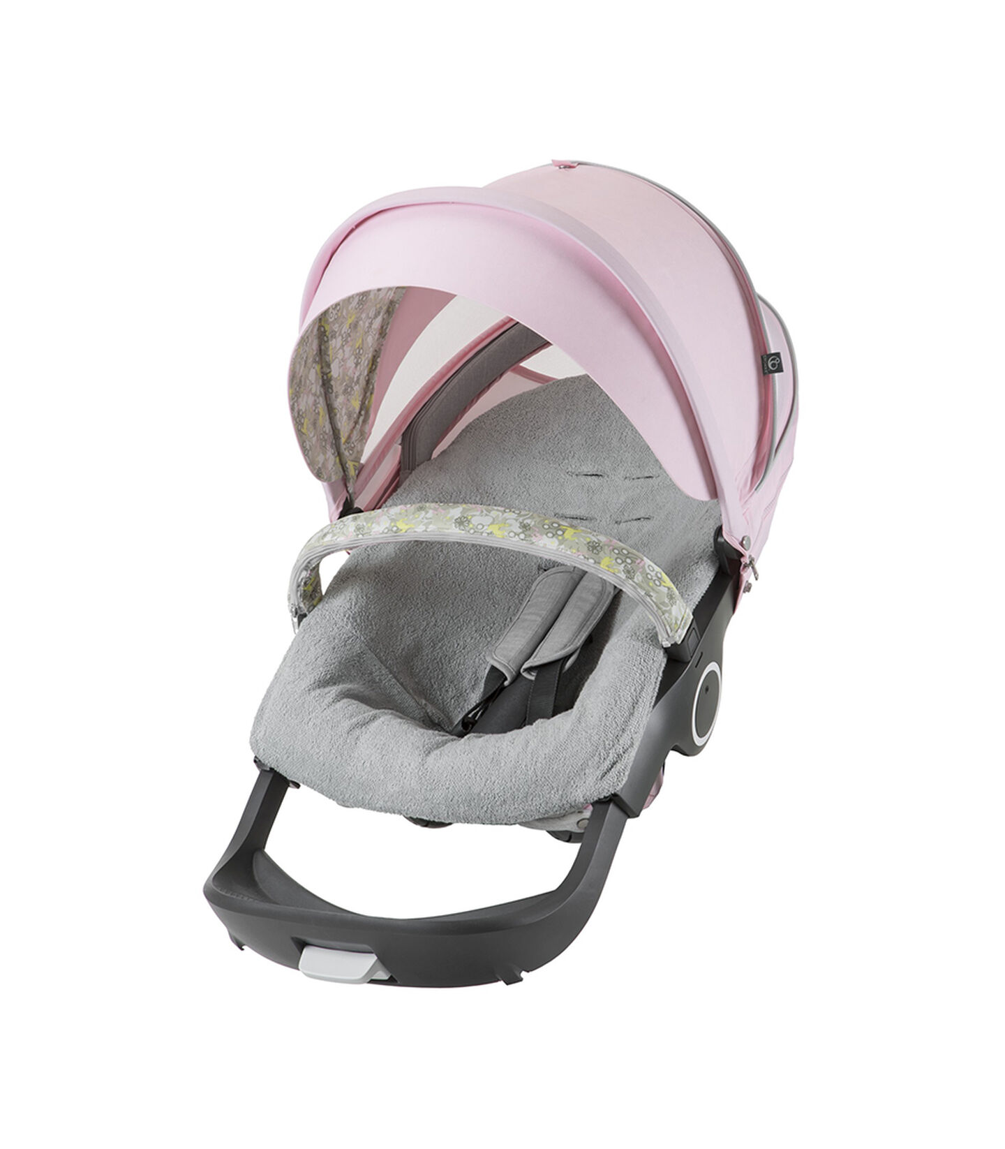 Stokke® Stroller seat with Flora Pink Summer Kit.