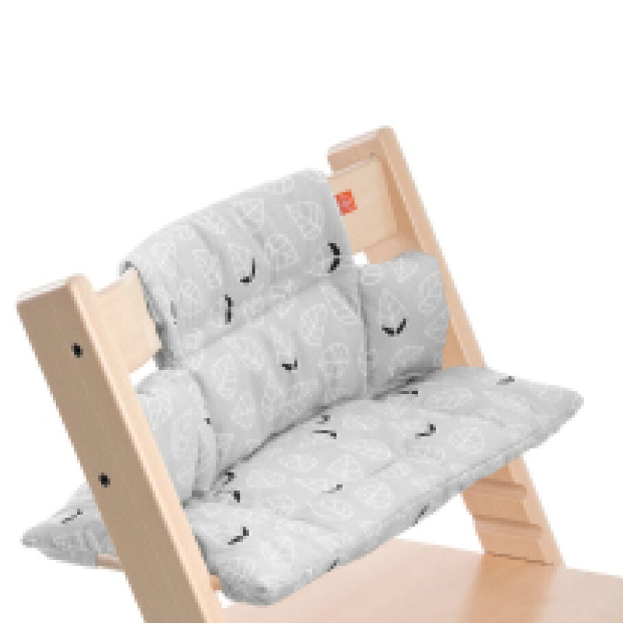 Tripp Trapp® Natural with Grey Leaf Classic Baby Cushion. Detail.