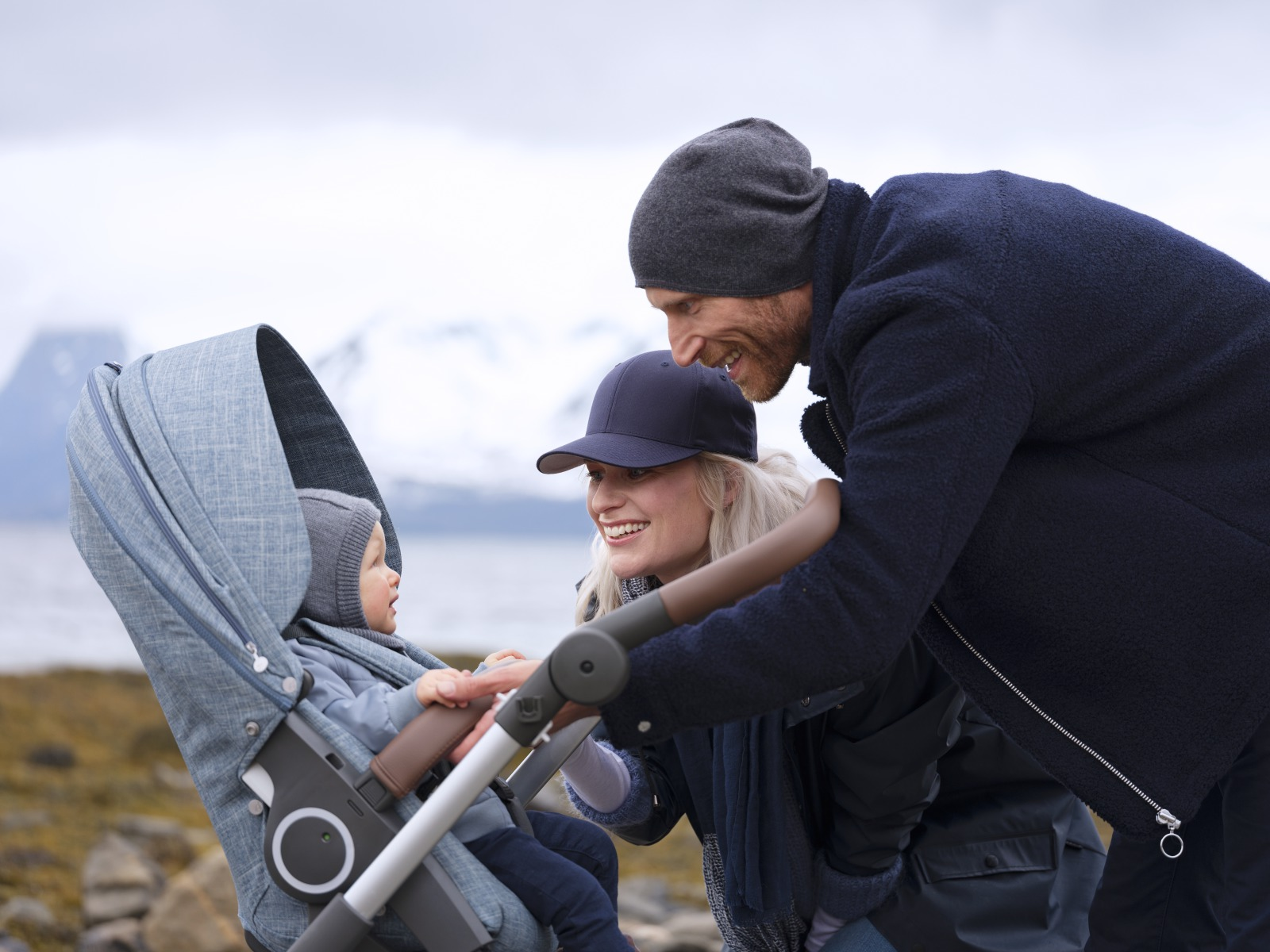 Stokke® Trailz™ with silver chassis and Stokke™ Stroller Seat, Nordic Blue.