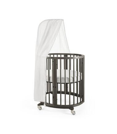 Stokke® Sleepi Mini, Hazy Grey. Canopy and Fitted Sheet White.