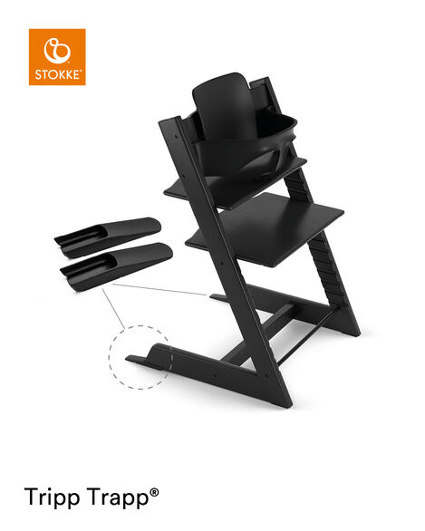 Tripp Trapp® Chair Black, Beech, with Baby Set. view 4