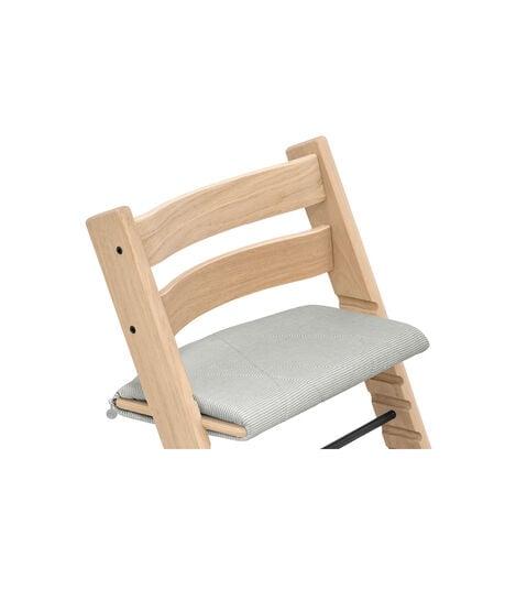 Tripp Trapp® chair Oak Natural, with Junior Cushion Nordic Grey. view 2