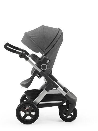 Stokke® Trailz™ with Stokke® Stroller Seat, parent facing, rest position. Black Melange.