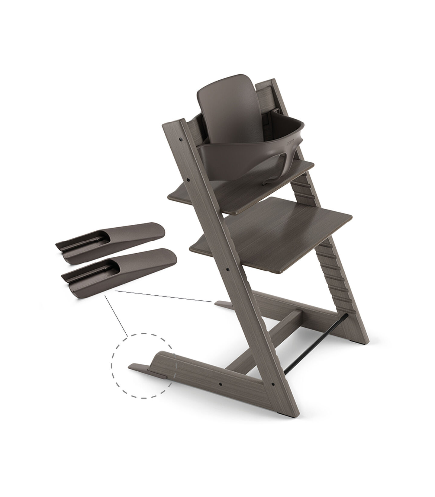 Tripp Trapp® Chair Hazy Grey, Beech, with Baby Set. view 3