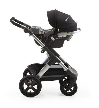 Stokke® PIPA™ By Nuna® car seat Black. Mounted on Stokke® Trailz™. (USA only).
