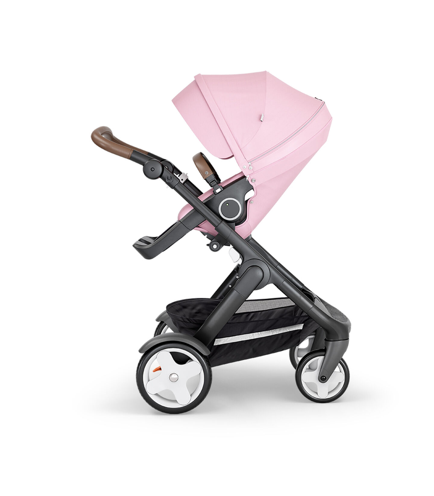 Stokke® Trailz™ with Black Chassis, Black Leatherette and Classic Wheels. Stokke® Stroller Seat, Lotus Pink.
