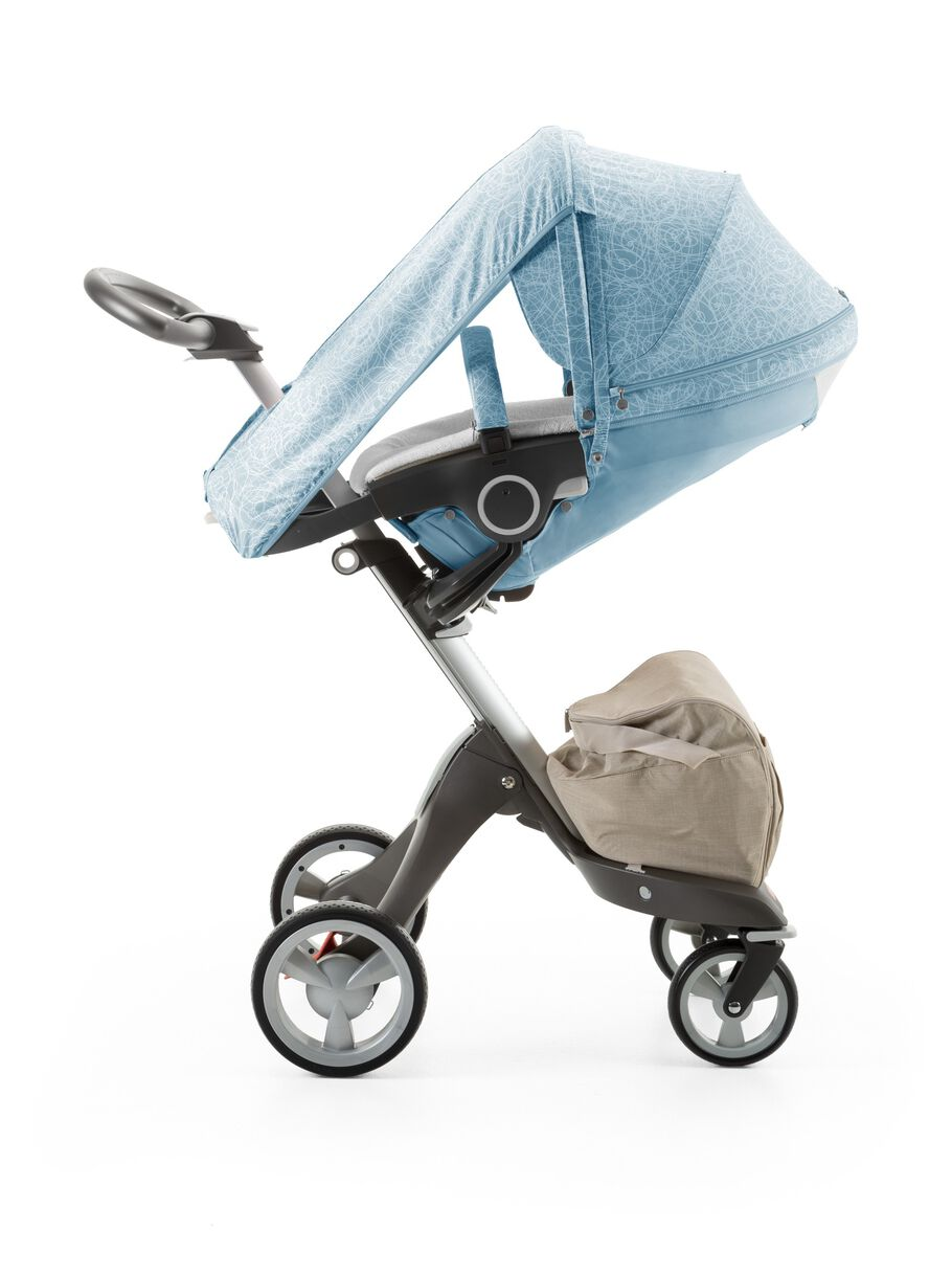 Stokke® Xplory® with Stokke® Stroller Seat and Scribble Bluebell Blue Summer Kit.
