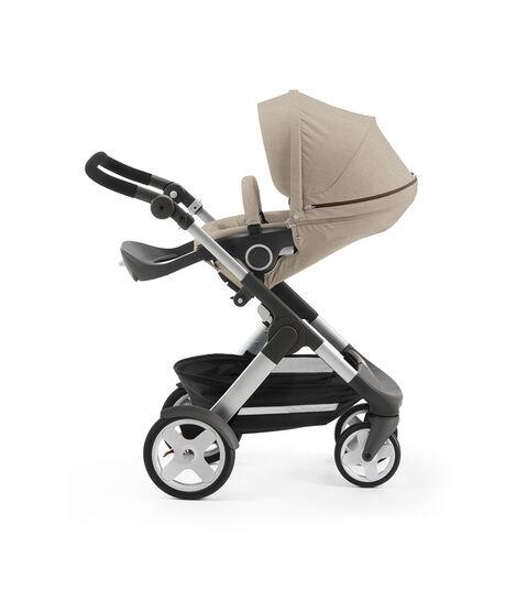 Stokke® Trailz with Stokke® Stroller Seat, parent facing, rest position. Beige Melange. view 4