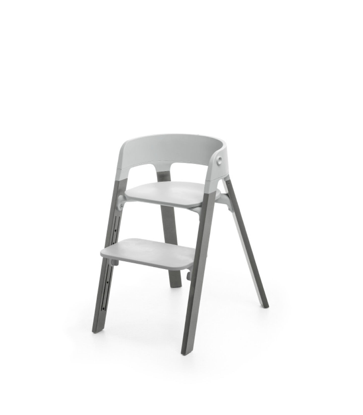 Stokke® Steps™ Storm Grey with Light Grey seat.