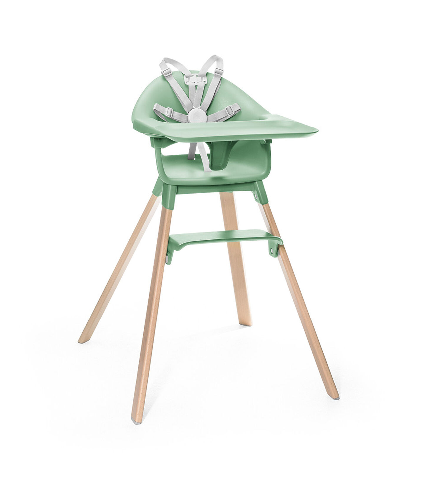 Stokke® Clikk™ High Chair. Natural Beech wood and Clover Green plastic parts. Stokke® Harness and Tray attached. view 1