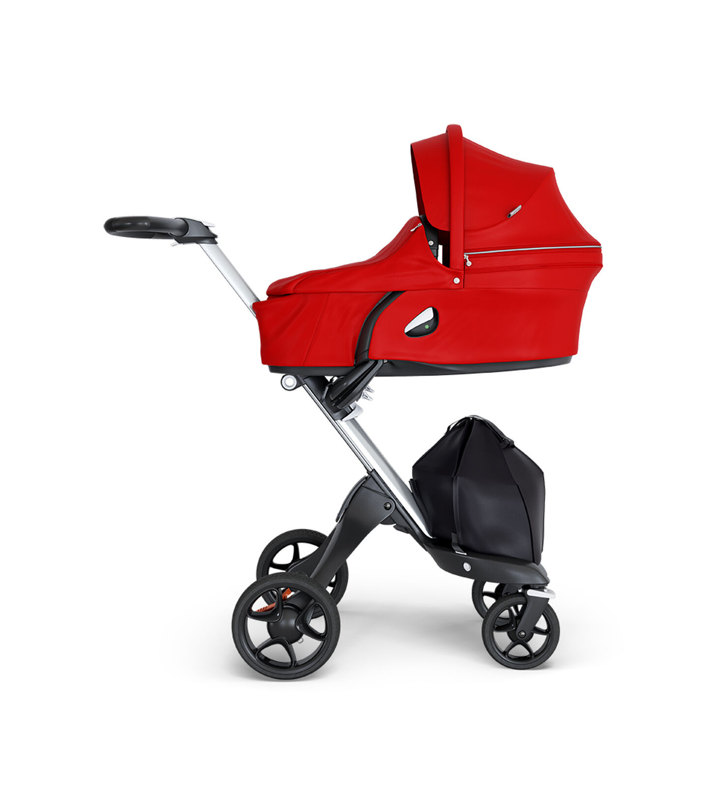 Stokke® Xplory® wtih Black Chassis and Leatherette Black handle. Stokke® Stroller Carry Cot Red.
