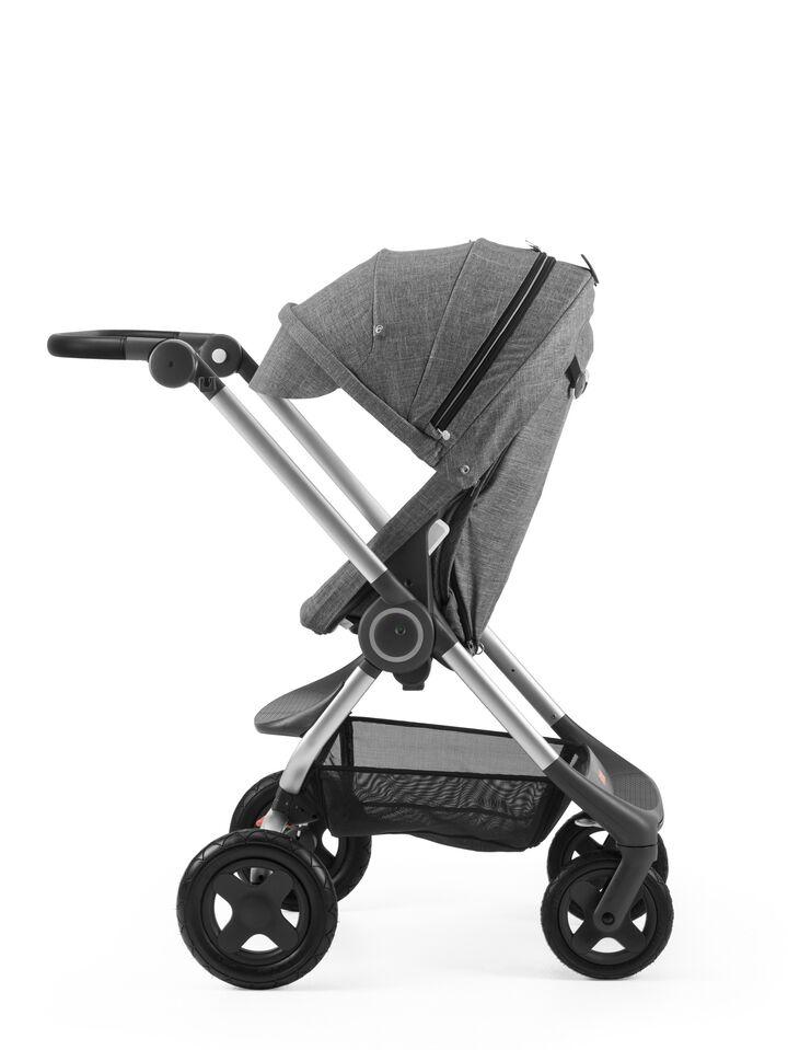 Stokke® Scoot™ Black Melange with Black Melange Canopy. Parent facing, active position.
