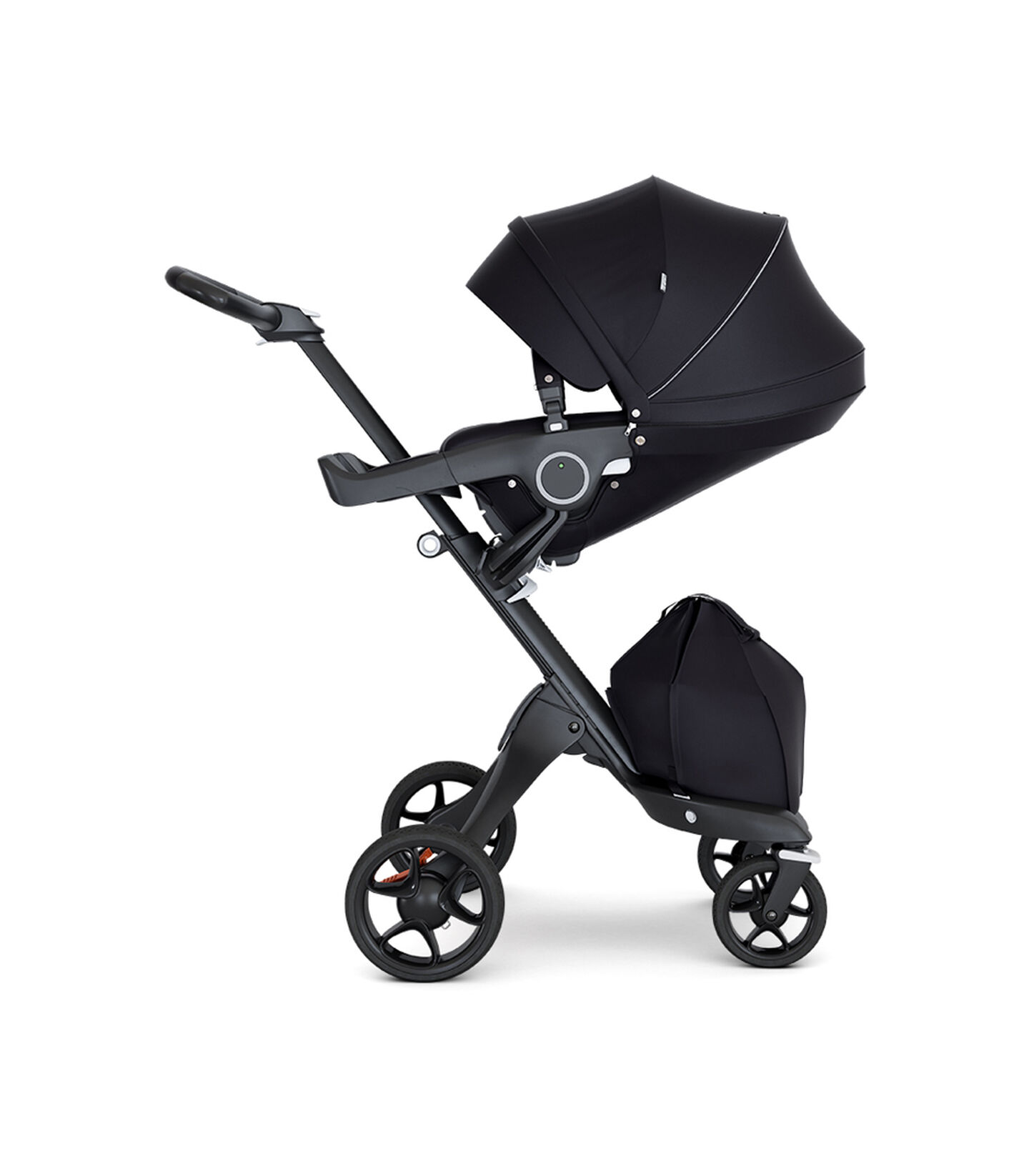 Stokke® Xplory® with Black Chassis and Leatherette Black handle. Stokke® Stroller Seat Black with extended canopy.