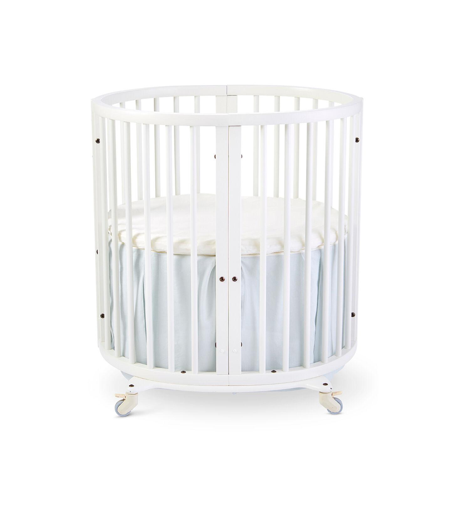 Stokke® Sleepi™ Mini, White. Bed Skirt Mist. US only.