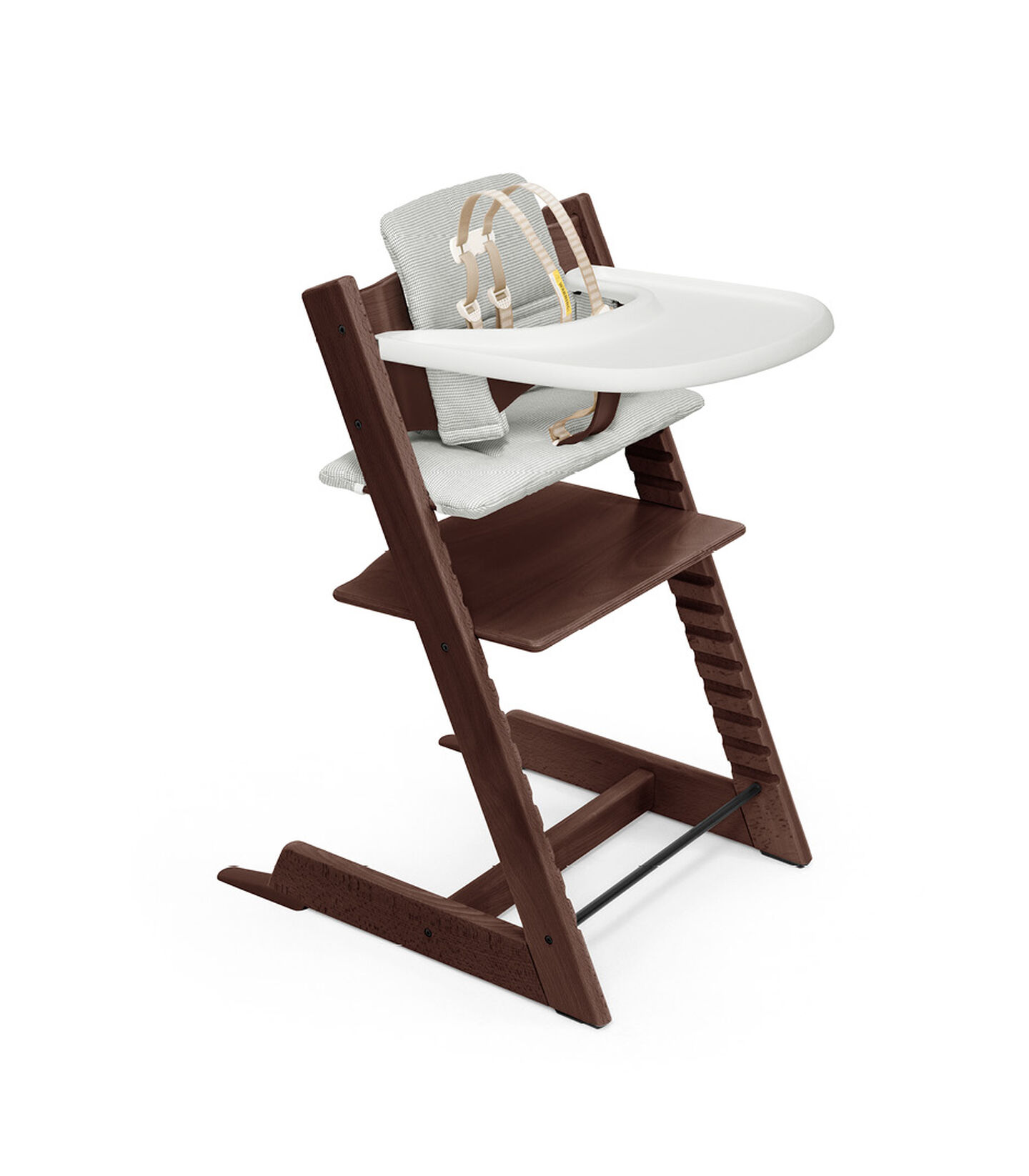 Tripp Trapp® HC Complete Walnut w Nordic Grey and Tray, Walnut Brown, Nordic Grey Cushion + Tray, mainview view 1