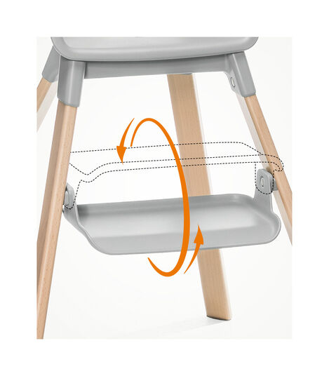 Stokke® Clikk™ High Chair. Natural Beech wood and Light Grey plastic parts. view 4