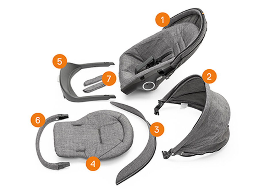 Stokke® Stroller Seat Complete. Items included.