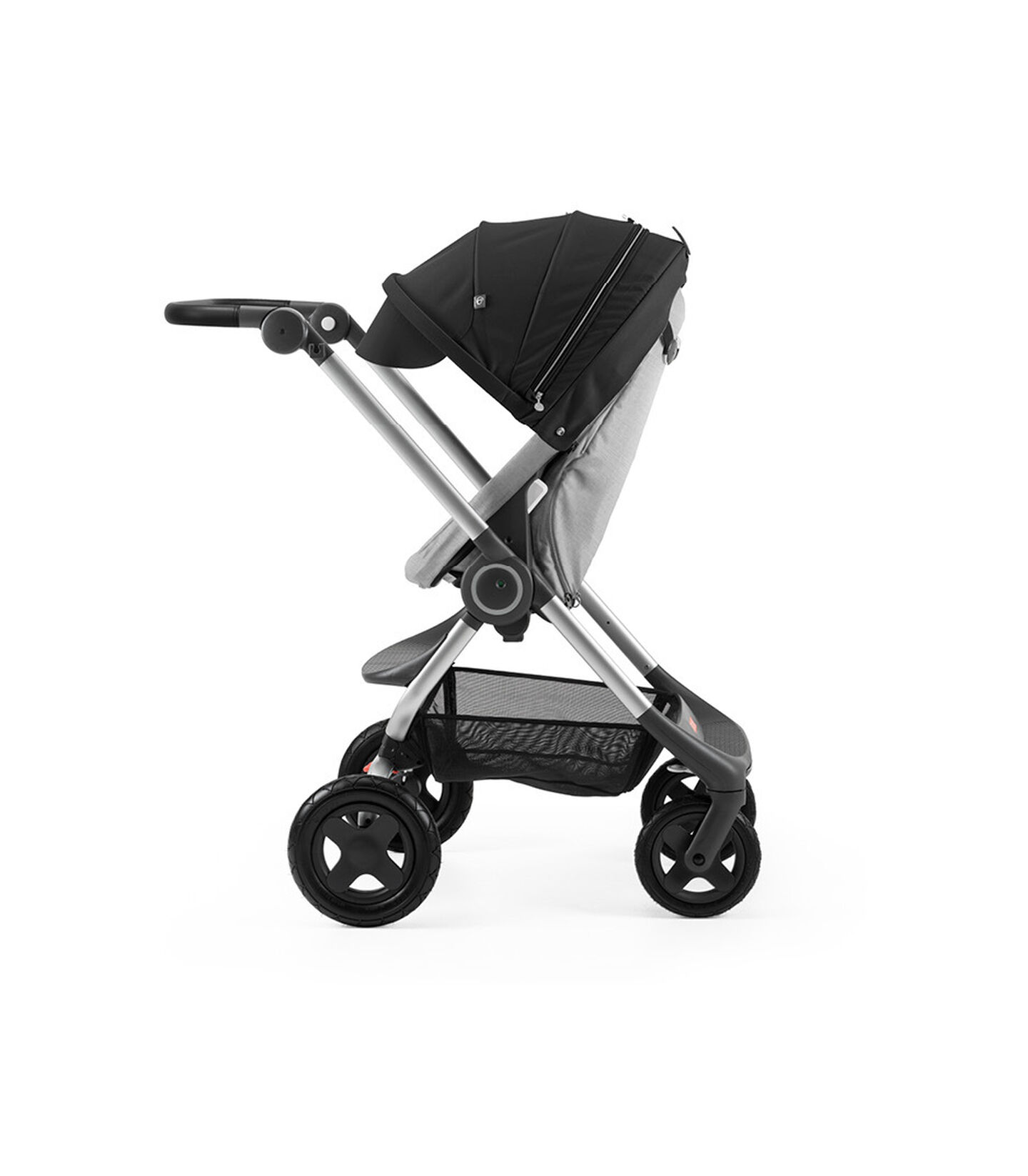 Stokke® Scoot™ Grey Melange with Black Canopy. Parent facing, active position.