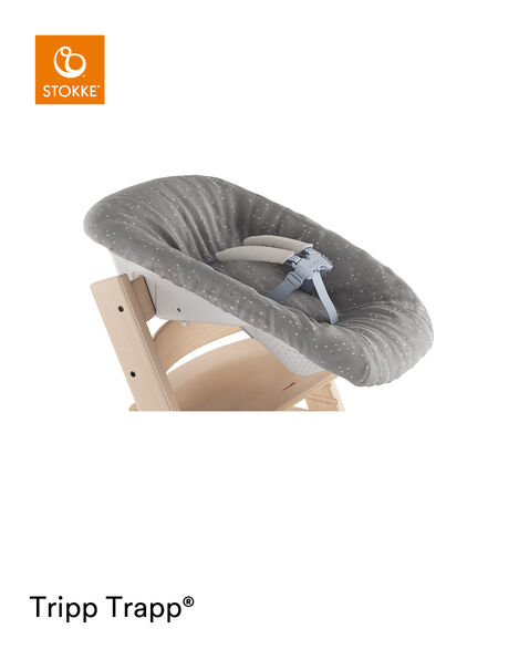 Tripp Trapp® Natural and Tripp Trapp® Newborn Set with Sweet Hearts cover, reversible (grey). Close-up. view 9