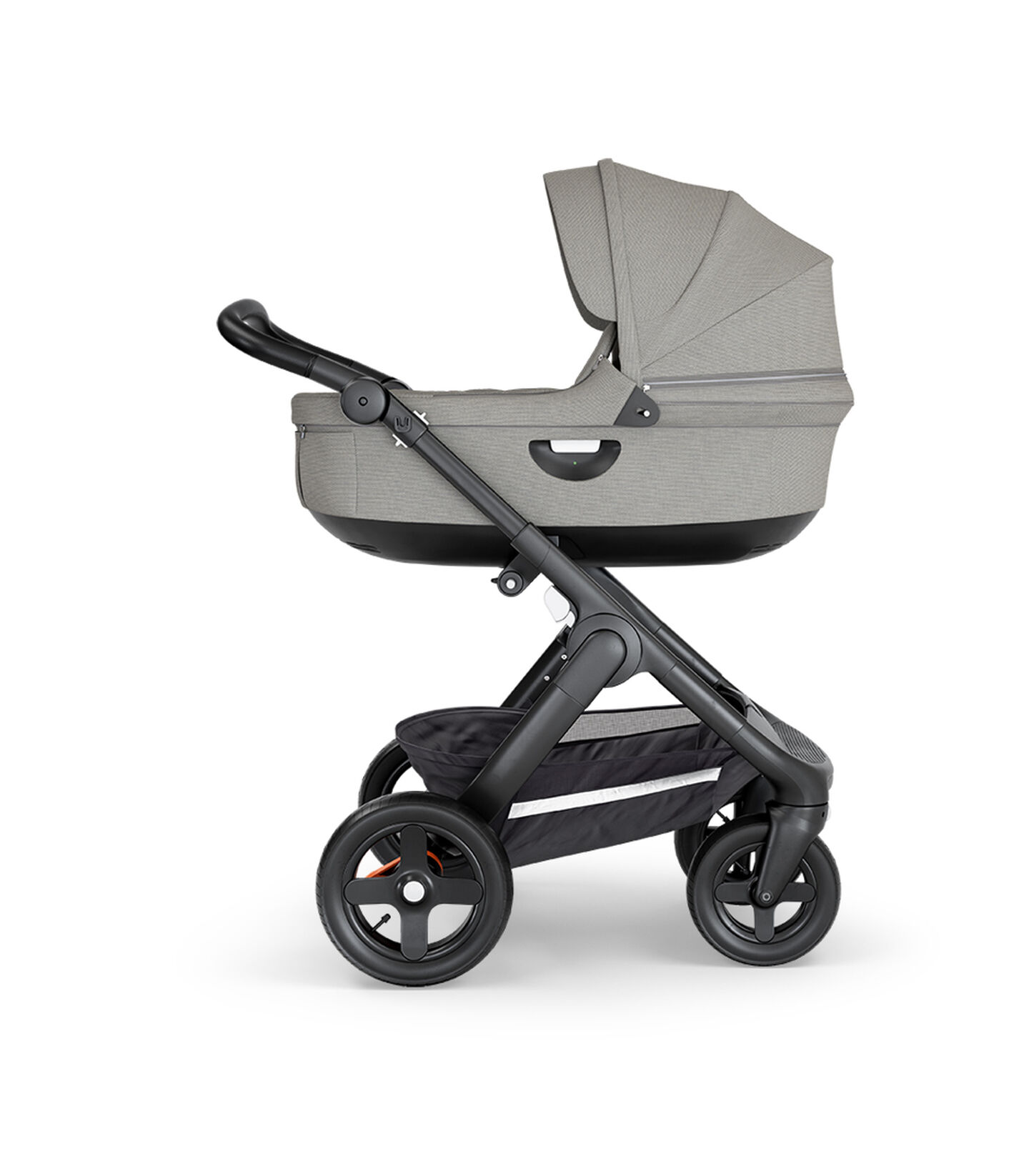 Stokke® Trailz™ with Black Chassis, Black Leatherette and Terrain Wheels. Stokke® Stroller Carry Cot, Brushed Grey.