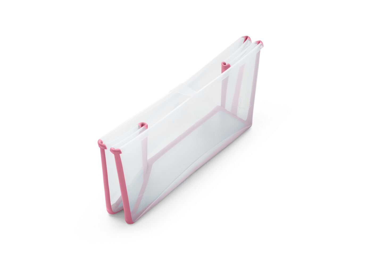 Stokke® Flexi Bath® bath tub, Transparent Pink. Folded.