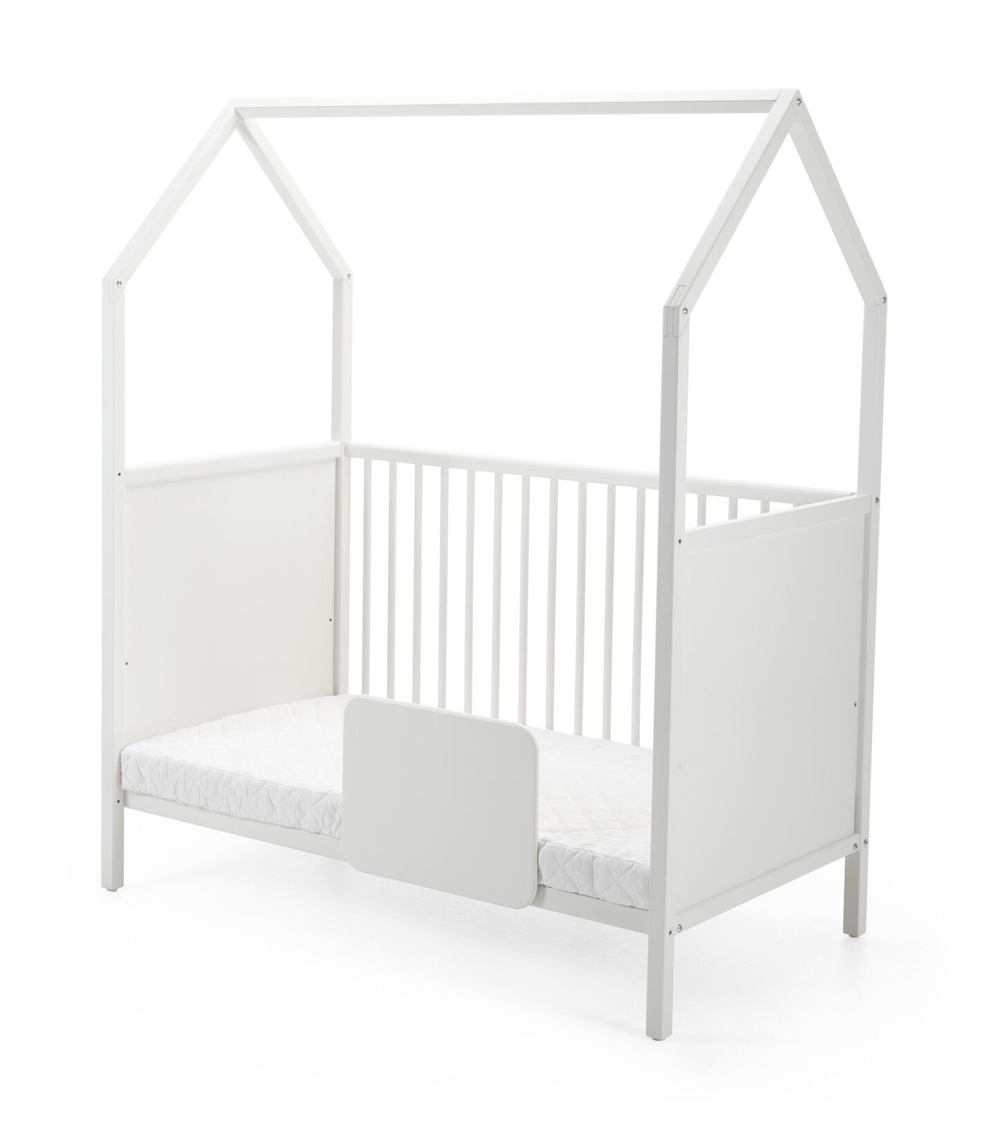 Stokke® Home™ Bed, White, with Bed Guard.