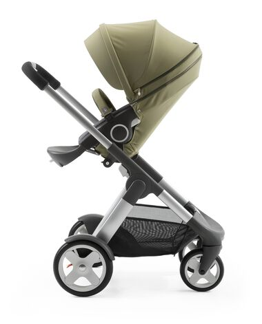 Stokke® Crusi™ with Stokke® Stroller Seat Style Kit Olive.