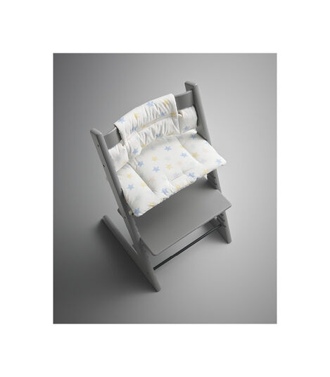Tripp Trapp® Storm Grey with Classic Cushion Star Multi. Styled. view 3