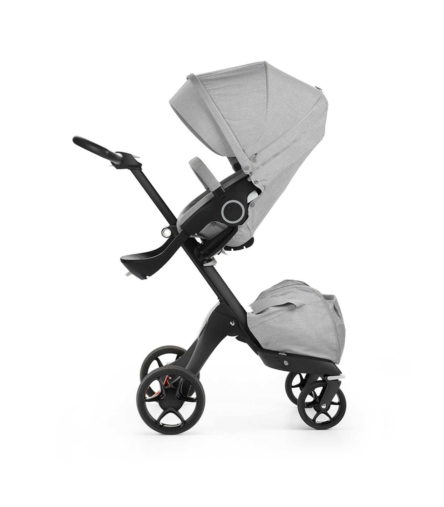 Stokke® Xplory® with Black chassis and Stokke® Stroller Seat, Red. New wheels 2016. view 2
