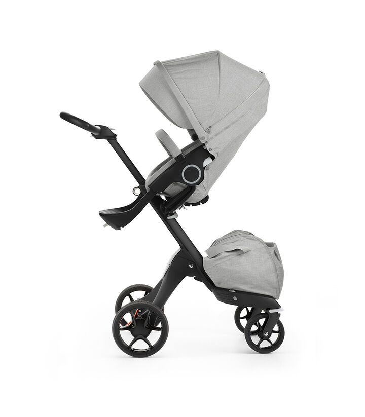Stokke® Xplory® with Black chassis and Stokke® Stroller Seat, Red. New wheels 2016. view 1