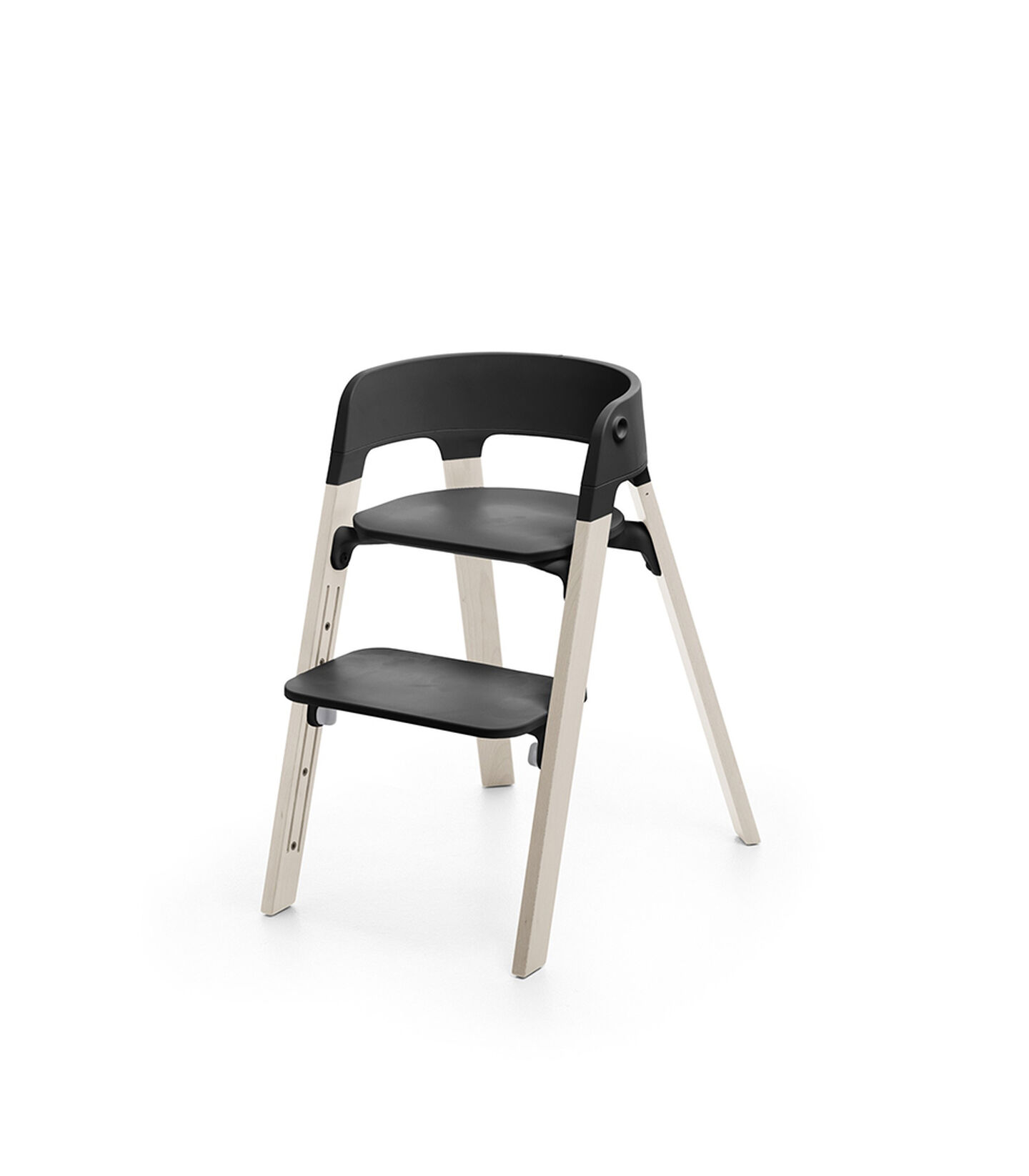 Stokke® Steps™ Chair Black Seat Whitewash Legs (stokke.com), Whitewash, mainview view 1