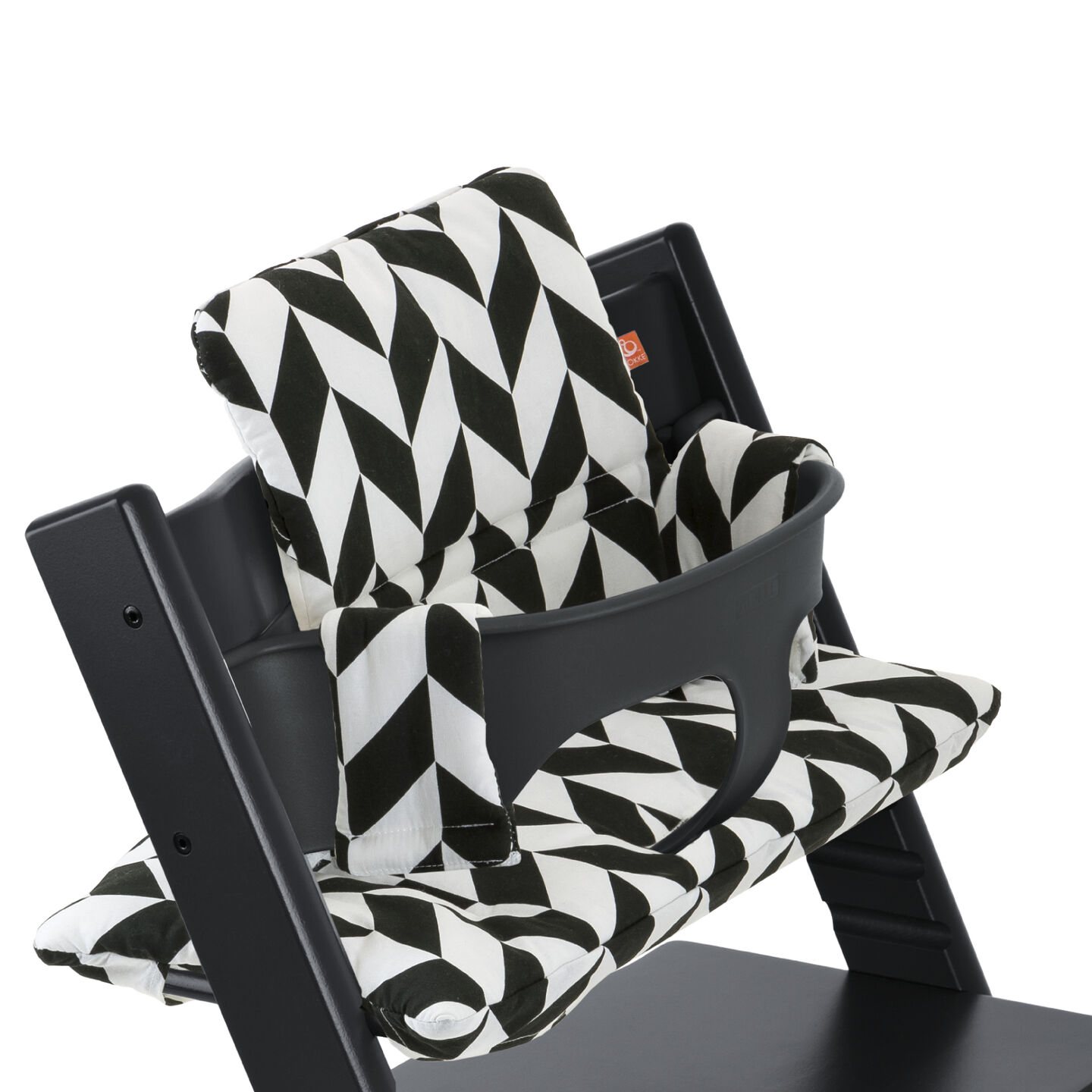 Tripp Trapp® Black with Baby Set and Black Chevron cushion. Detail.