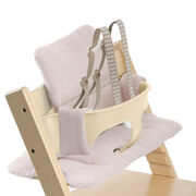 Tripp Trapp® Natural with Baby Set and Pink Tweed cushion. US version. Detail.