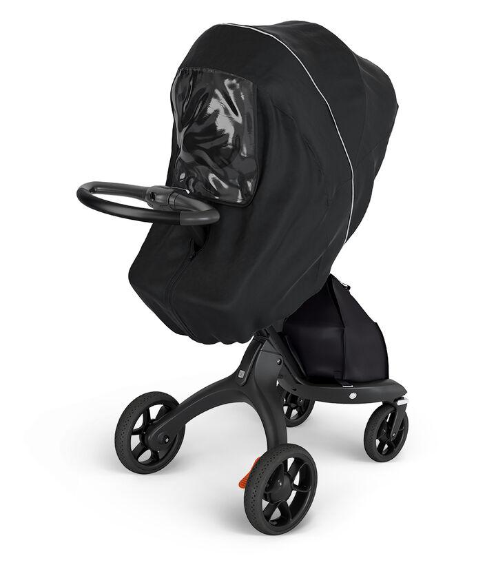 Stokke® Xplory® Black Chassis. Stokke® Stroller Rain cover. view 1
