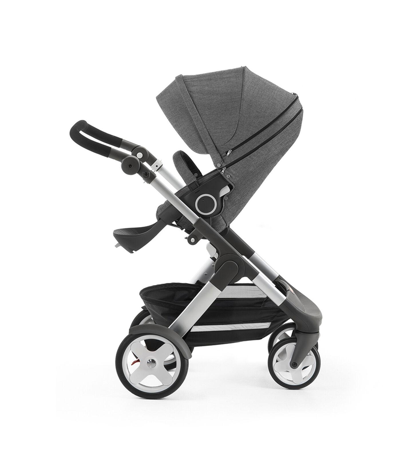 Stokke® Trailz™ with Stokke® Stroller Seat, Black Melange. Classic Wheels. view 2