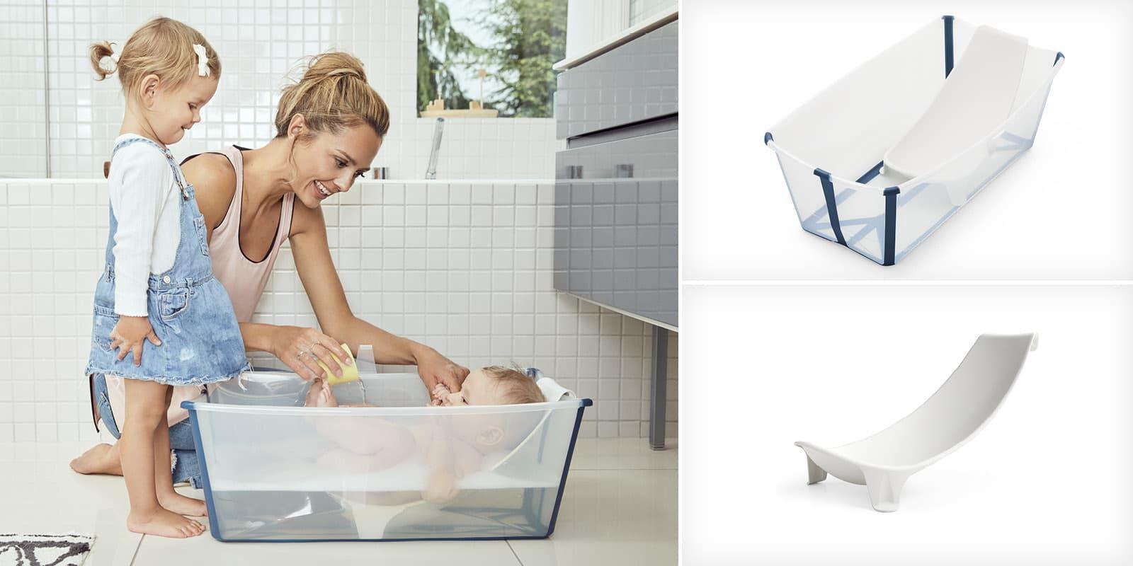 Stokke Flexi Bath Bundle with Heat-Sensitive Plug and Flexi Bath Newborn Support Transparent Blue