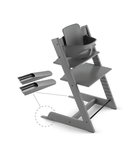 Tripp Trapp® Chair Storm Grey, Beech, with Baby Set.