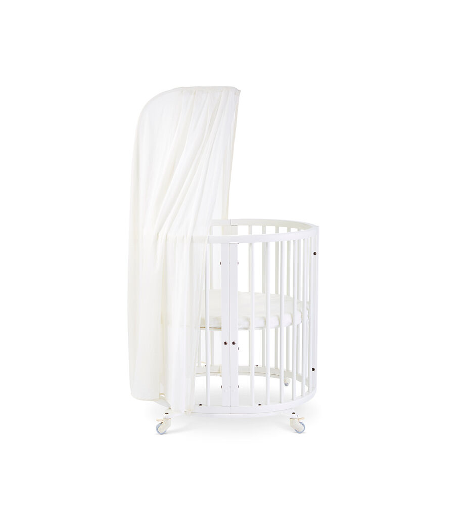 Stokke® Sleepi™ Mini, White. Canopy Pehr Natural. US only.