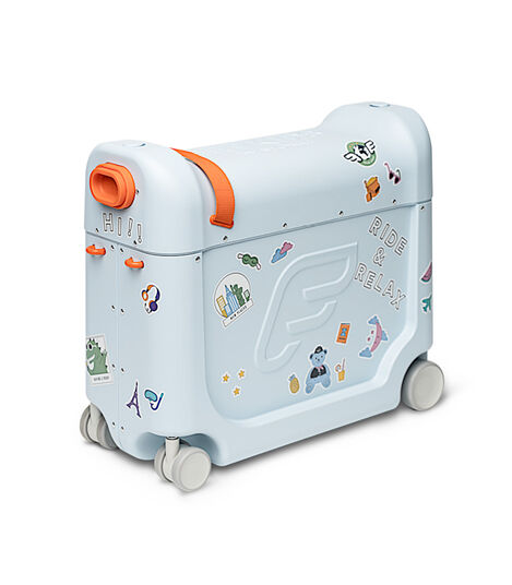 JetKids™ by Stokke® BedBox V3 in Blue Sky. Decorated with Stickers. view 8